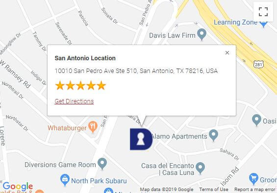 Med Security's San Antonio office location on Google Maps
