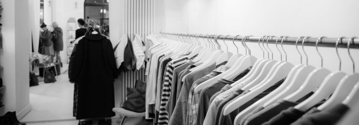 Clothing rack inside retail store